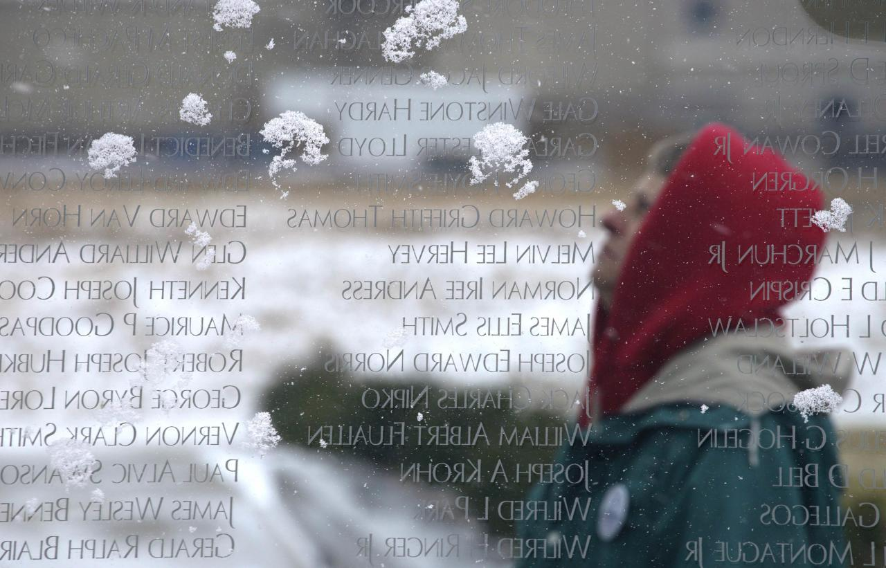 Mary Bruno looks at some of the snow-covered names of Colorado men and women killed in conflict since Colorado became a state, inscribed on the Colorado Freedom Memorial located in Aurora, Colorado on Veteran's Day November 11, 2014.  REUTERS/Rick Wilking (UNITED STATES - Tags: MILITARY SOCIETY ANNIVERSARY CONFLICT)