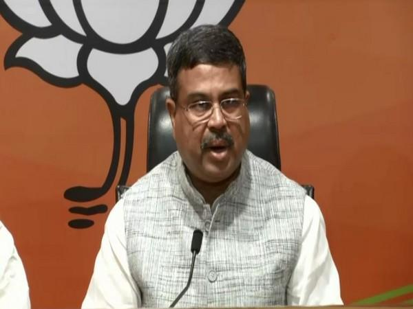 Union Minister Dharmendra Pradhan addressing a press conference in Delhi on Sunday. [Photo/ANI]