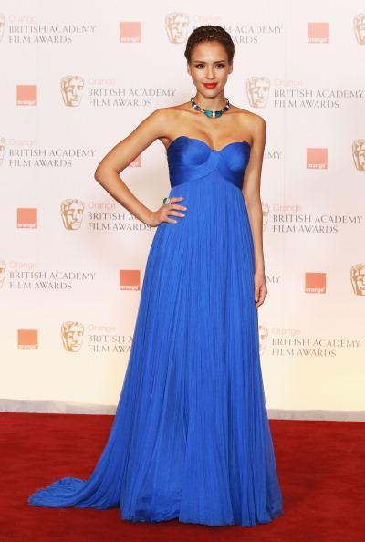 <p>It's hard to believe that Jessica Alba is actually pregnant here with her daughter Haven. She just looked so darn good in this blue number at the British Academy Awards.<i> [Photo: Getty]</i></p>