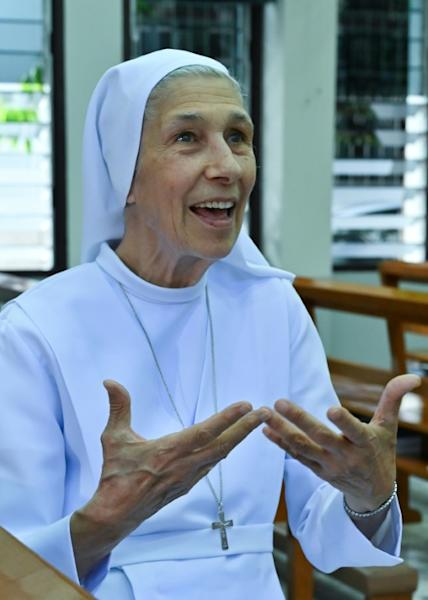 Sister Ana Rosa, cousin of Pope Francis, has worked as a missionary in Thailand since 1966 (AFP Photo/Romeo GACAD)