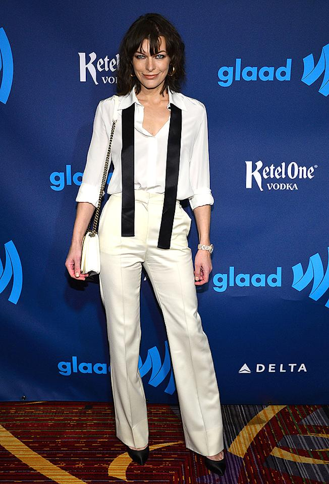 NEW YORK, NY - MARCH 16: Actress Milla Jovovich attends the 24th Annual GLAAD Media Awards on March 16, 2013 in New York City. (Photo by Larry Busacca/Getty Images for GLAAD)