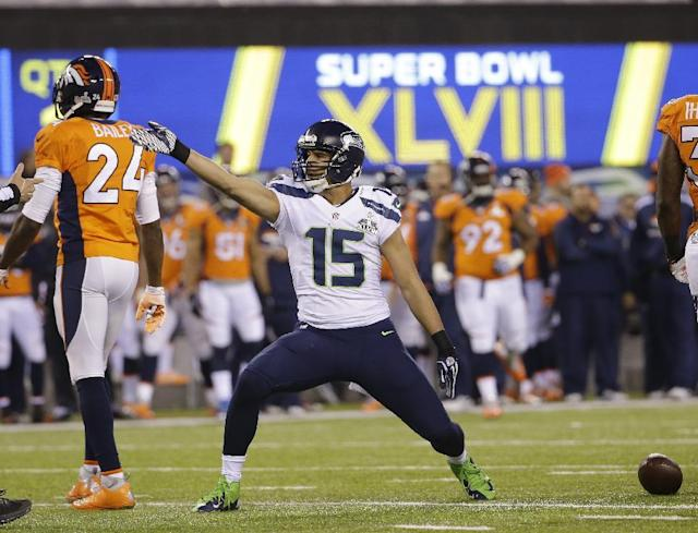 Seattle Seahawks' Jermaine Kearse (15) reacts to a first down during the first half of the NFL Super Bowl XLVIII football game against the Denver Broncos Sunday, Feb. 2, 2014, in East Rutherford, N.J. (AP Photo/Matt Slocum)