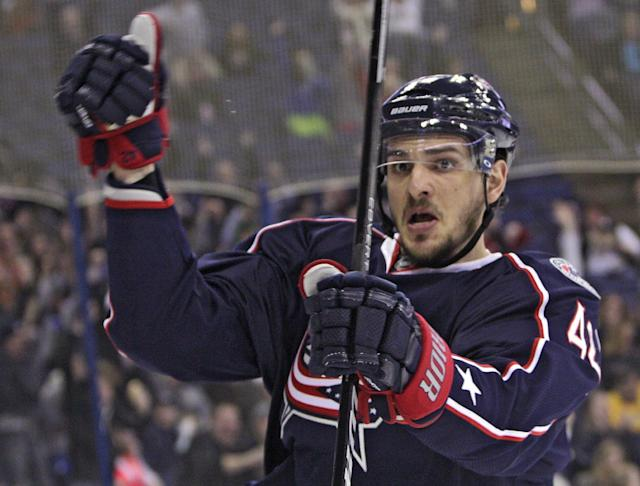 Columbus Blue Jackets' Artem Anisimov, of Russia, celebrates his goal against the Florida Panthers during the second period of an NHL hockey game Saturday, March 1, 2014, in Columbus, Ohio. The Blue Jackets defeated the Panthers 6-3. (AP Photo/Jay LaPrete)