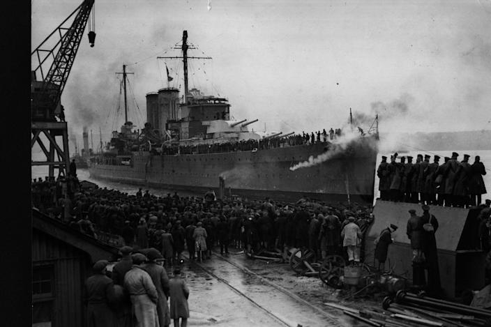 The cruiser HMS Exeter is among the wrecked British warships which have been plundered on the seabed: Getty