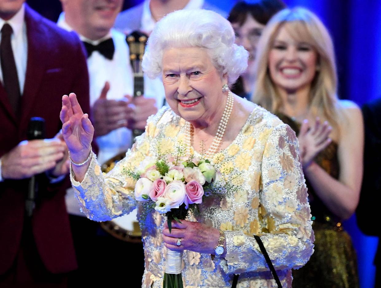 The Queen waves to the crowd during her birthday party (Picture: PA)