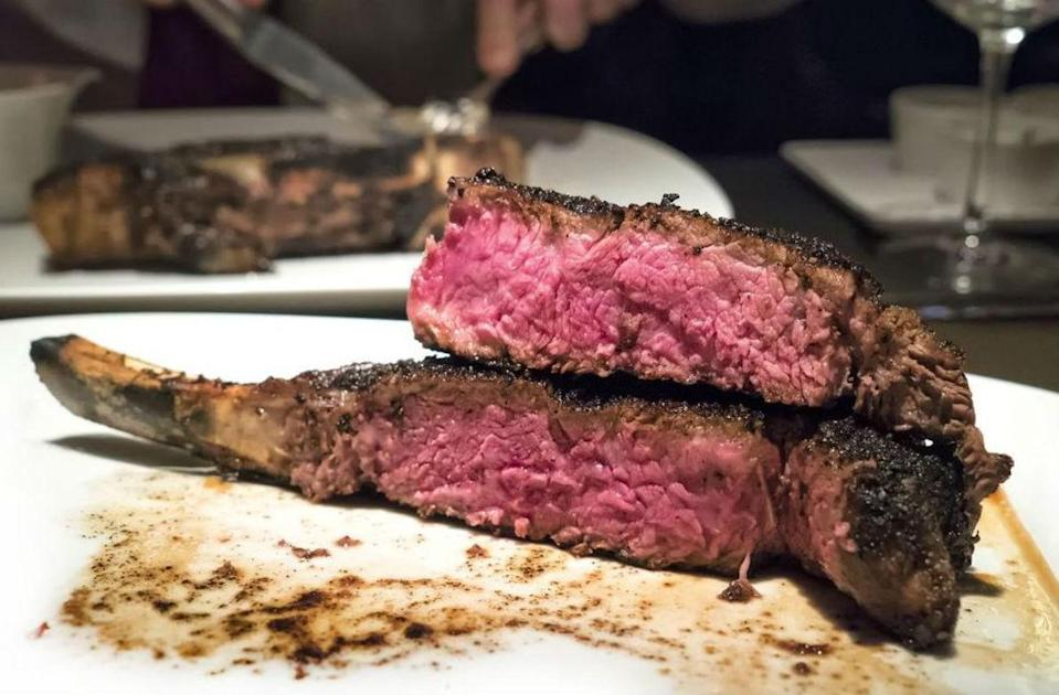 "<p>Steaks at <a href=""https://www.thedailymeal.com/eat/best-high-end-steakhouse-chains?referrer=yahoo&category=beauty_food&include_utm=1&utm_medium=referral&utm_source=yahoo&utm_campaign=feed"" rel=""nofollow noopener"" target=""_blank"" data-ylk=""slk:high-end steakhouses"" class=""link rapid-noclick-resp"">high-end steakhouses</a> are usually well over an inch thick, sometimes approaching 2 inches. Not only is a super-thick steak a lot more impressive-looking on the plate than a half-inch one, but the thickness also gives the broiler a lot more time to go to work on caramelizing the outer crust. If it were a thin steak in that broiler, the center could be overcooked <a href=""https://www.thedailymeal.com/cook/how-cook-perfect-steak-gallery?referrer=yahoo&category=beauty_food&include_utm=1&utm_medium=referral&utm_source=yahoo&utm_campaign=feed"" rel=""nofollow noopener"" target=""_blank"" data-ylk=""slk:before a nice crust had time to develop"" class=""link rapid-noclick-resp"">before a nice crust had time to develop</a>.</p>"