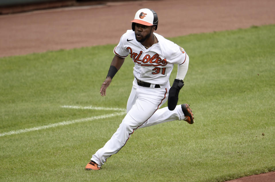 BALTIMORE, MARYLAND - APRIL 29: Cedric Mullins #31 of the Baltimore Orioles runs the bases against the New York Yankees at Oriole Park at Camden Yards on April 29, 2021 in Baltimore, Maryland. (Photo by G Fiume/Getty Images)