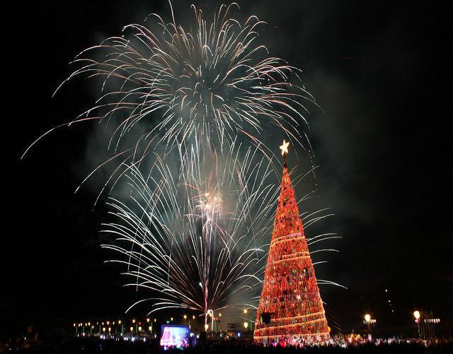 The tallest Christmas tree in the country, standing at 120-feet and 480-thousand lightbulbs, is lighted in Puerto Princesa City in Palawan Province, around 400-kilometers south of Manila. (STR/NPPA Images)