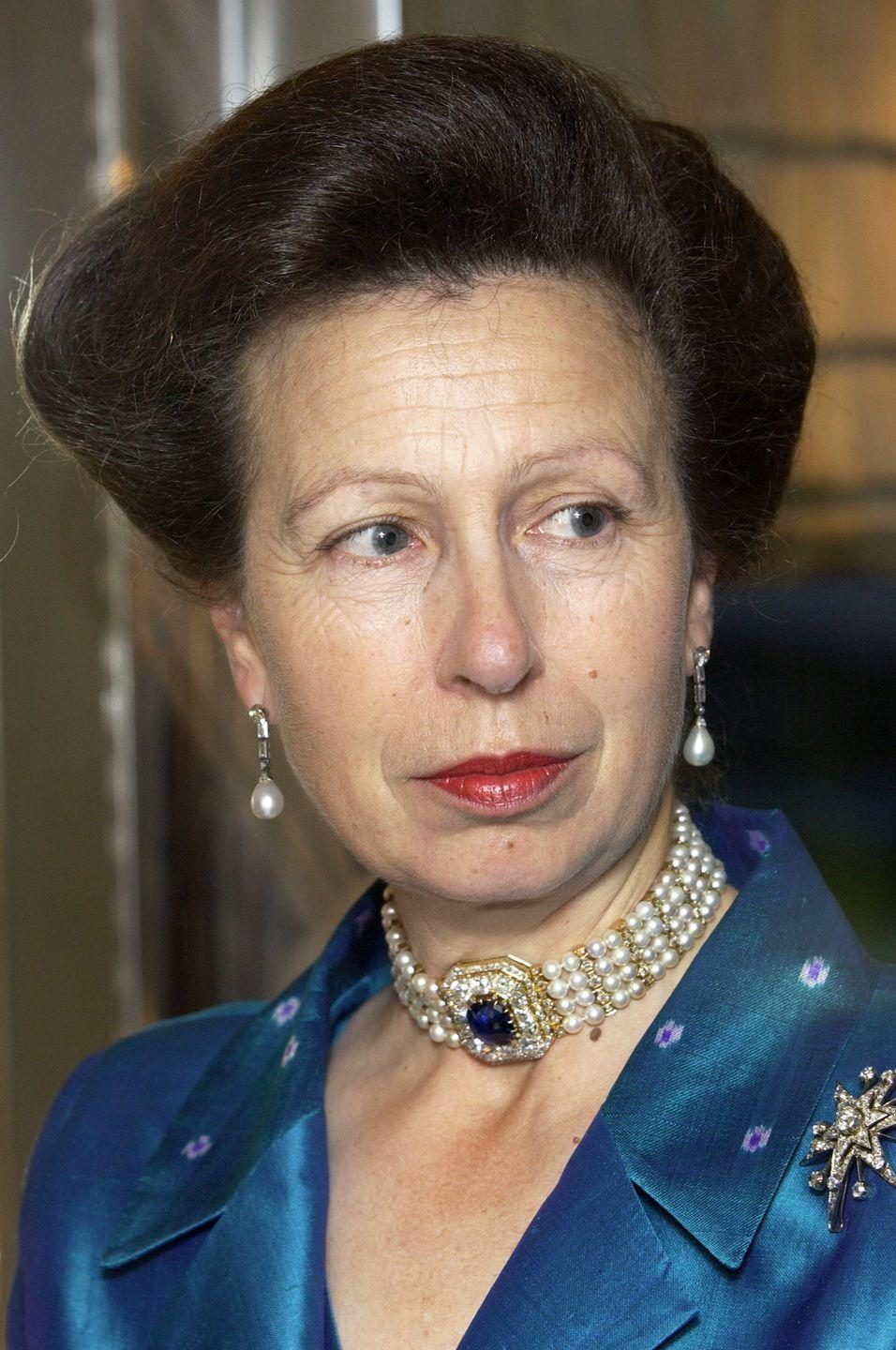 <p>Princess Anne's sapphire, diamond, and pearl choker was one of the many pieces from Russian Empress Marie Feodorovna's collection that Queen Mary later purchased. In 1953, Queen Elizabeth inherited the jewels from this cache, but as she rarely wears chokers, it is believed she passed this down to her daughter, either as a gift or longtime loan. The necklace can be taken apart to become a pair of bracelets, while the centerpiece turns into a brooch.</p>