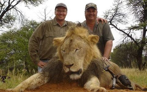 American dentist Walter Palmer (left), who hunted Cecil the lion in Zimbabwe, with earlier prey
