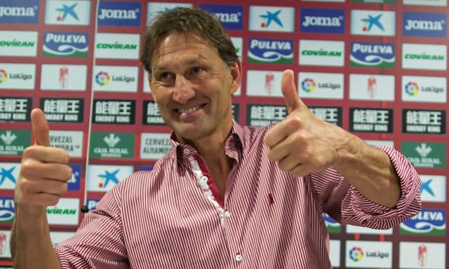"""<span class=""""element-image__caption"""">Tony Adams in good spirits after being presented as the new, short-term manager of Granada.</span> <span class=""""element-image__credit"""">Photograph: STRINGER/Reuters</span>"""