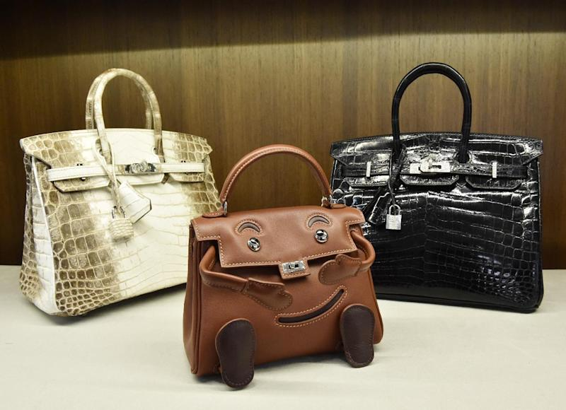 Luxury Hermes bags displayed at Heritage Auctions New York on April 7, 2014