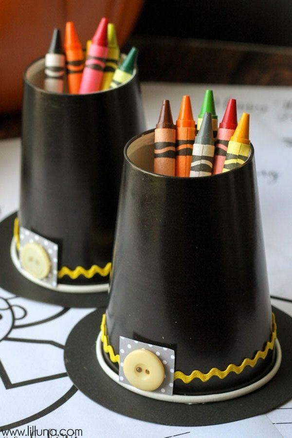 "<p>Giving the little ones space to color? Go a step further to ensure crayons are displayed festively, too. These Thanksgiving pilgrim hats are made out of paper cups, and you can reuse them from year to year. </p><p><strong>Get the tutorial at <a href=""http://lilluna.com/pilgrim-hat-crayon-cups/"" rel=""nofollow noopener"" target=""_blank"" data-ylk=""slk:Lil' Luna"" class=""link rapid-noclick-resp"">Lil' Luna</a>.</strong> </p><p><a class=""link rapid-noclick-resp"" href=""https://www.amazon.com/Black-9oz-Paper-Cups-20ct/dp/B000CSIBLA/?tag=syn-yahoo-20&ascsubtag=%5Bartid%7C10050.g.1201%5Bsrc%7Cyahoo-us"" rel=""nofollow noopener"" target=""_blank"" data-ylk=""slk:SHOP BLACK PAPER CUPS"">SHOP BLACK PAPER CUPS</a></p>"