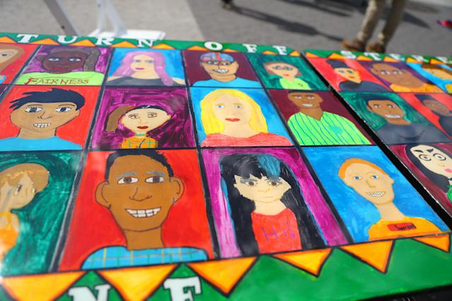 "<p>Art featuring the faces of many people of different backgrounds on the ""Being accepted"" table in Union Square Park in New York City on June 5, 2018. (Photo: Gordon Donovan/Yahoo News) </p>"