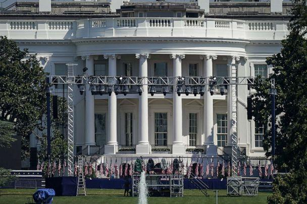 PHOTO: Staging and lighting is set up on the South Lawn of the White House on Aug. 24, 2020 in Washington, D.C. (Drew Angerer/Getty Images)