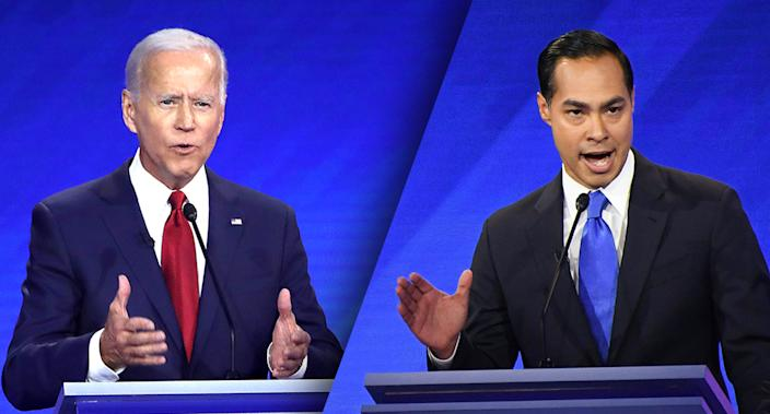 Joe Biden, left, and Julián Castro. (Photos: Win McNamee/Getty Images; Robyn Beck/AFP/Getty Images)
