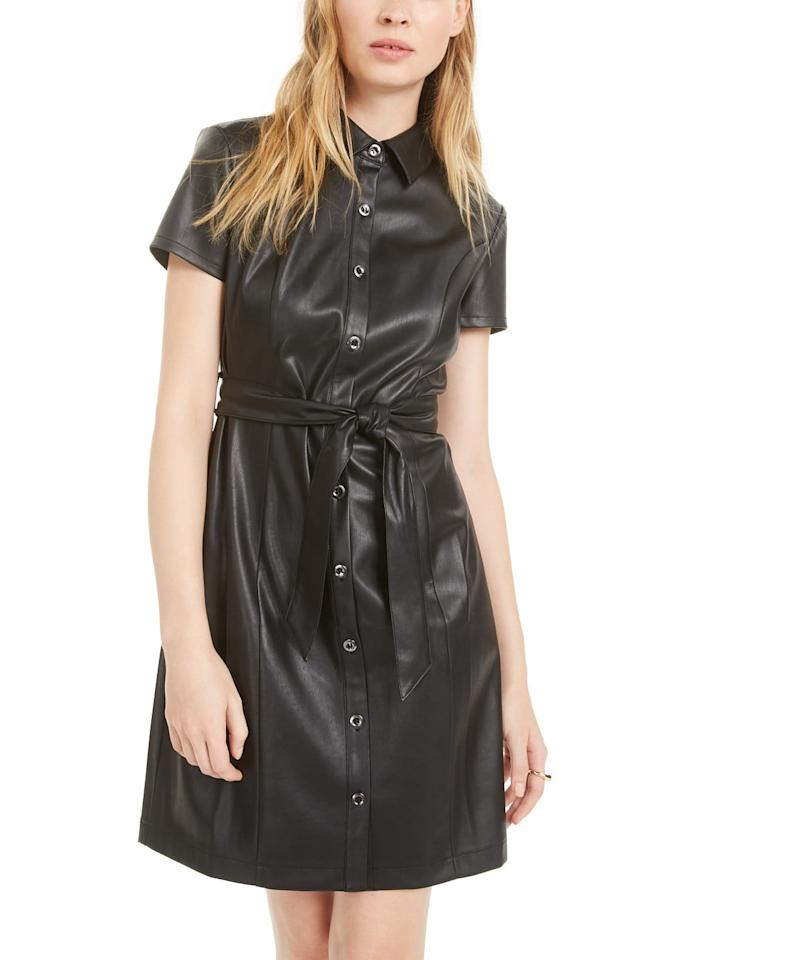 """<p>How cool is this <a href=""""https://www.popsugar.com/buy/Bar-III-Short-Sleeve-Faux-Leather-Shirtdress-493365?p_name=Bar%20III%20Short-Sleeve%20Faux-Leather%20Shirtdress&retailer=macys.com&pid=493365&price=80&evar1=fab%3Aus&evar9=46666423&evar98=https%3A%2F%2Fwww.popsugar.com%2Ffashion%2Fphoto-gallery%2F46666423%2Fimage%2F46666738%2FBar-III-Short-Sleeve-Faux-Leather-Shirtdress&list1=shopping%2Cfall%20fashion%2Cdresses%2Cmacys&prop13=mobile&pdata=1"""" rel=""""nofollow"""" data-shoppable-link=""""1"""" target=""""_blank"""" class=""""ga-track"""" data-ga-category=""""Related"""" data-ga-label=""""https://www.macys.com/shop/product/bar-iii-short-sleeve-faux-leather-shirtdress-created-for-macys?ID=9501468&amp;CategoryID=5449#fn=sp%3D1%26spc%3D8291%26searchPass%3DmatchNone%26slotId%3D15"""" data-ga-action=""""In-Line Links"""">Bar III Short-Sleeve Faux-Leather Shirtdress</a> ($80)?</p>"""