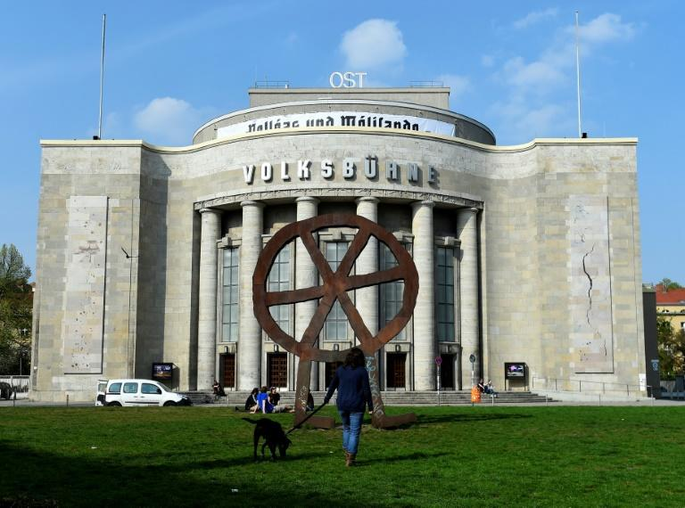 The Volksbuehne was rebuilt after World War II in an imposing Stalinist style using remnants of Hitler's destroyed chancellery