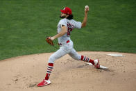 St. Louis Cardinals pitcher Daniel Ponce de Leon throws to a Minnesota Twins batter during the first inning of a baseball game Wednesday, July 29, 2020, in Minneapolis. (AP Photo/Jim Mone)