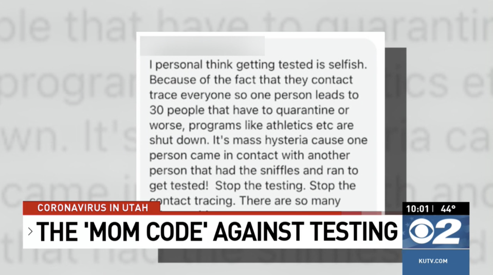 Parents on social media are urging other parents to not get their children tested for Covid-19. Source: KUTV