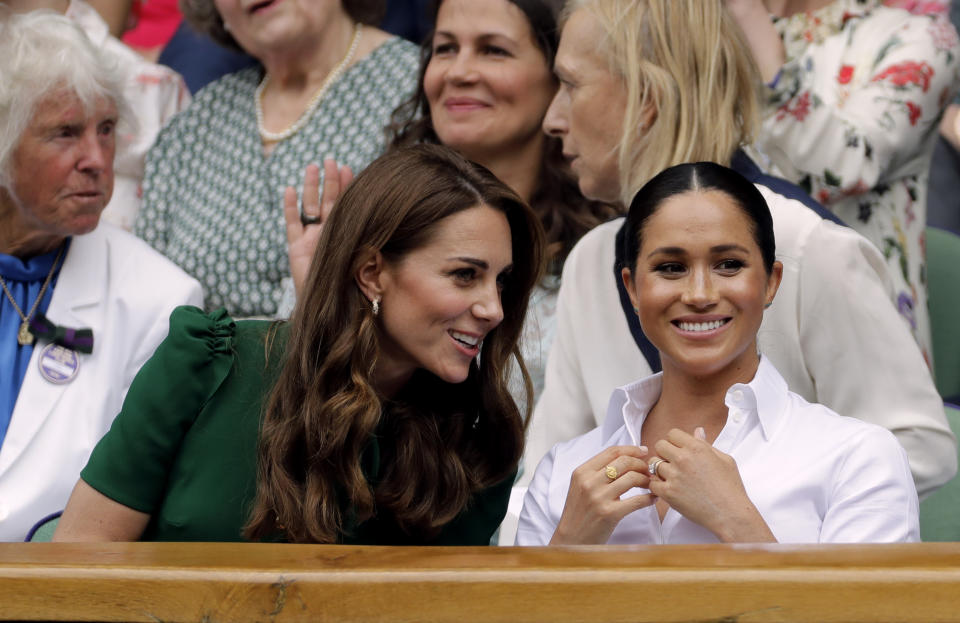 Kate and Meghan enjoyed a girls' day out at Wimbledon. [Photo: PA]