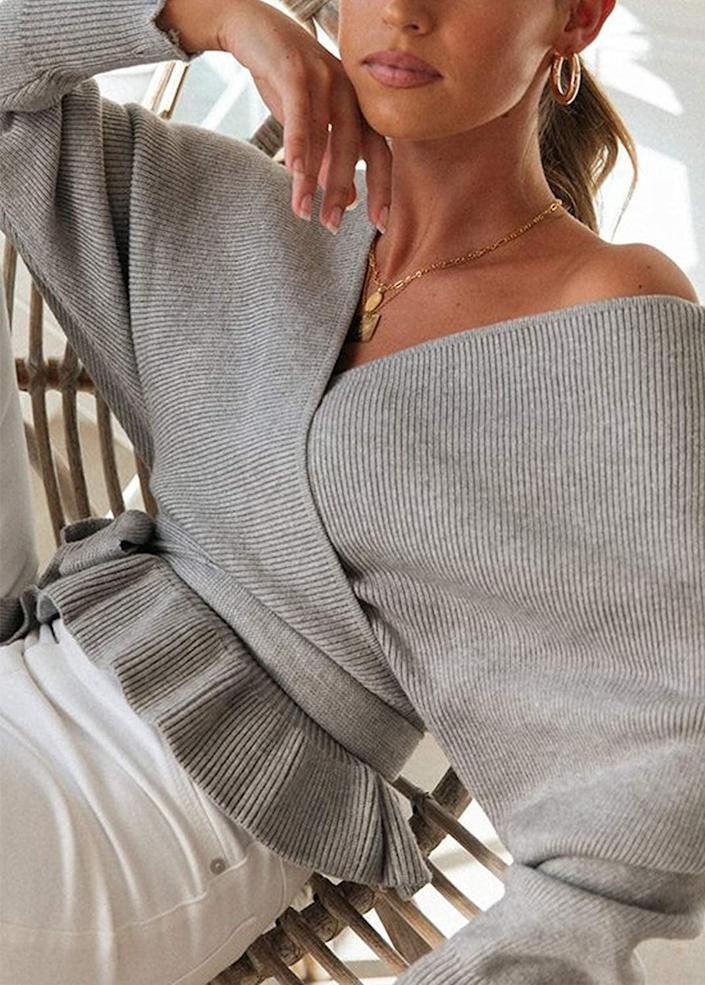 <p>This chic <span>Zesica Wrap V-Neck Batwing-Sleeve Ruffle Knitted Sweater</span> ($36) comes in tons of colors.</p>