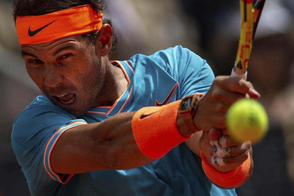 Rafael Nadal in action during his Mardid Open game.