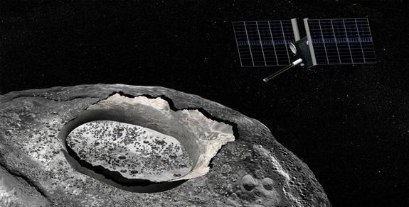 Artist's concept of a spacecraft studying the huge metal asteroid Psyche from orbit.