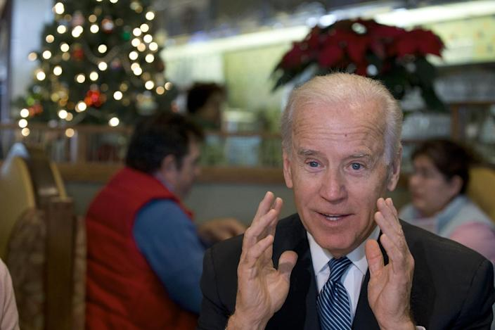 Vice President Joe Biden speaks to the media after eating lunch with middle class tax-payers, Friday, Dec. 7, 2012, at the Metro 29 diner in Arlington, Va. (AP Photo/Jacquelyn Martin)