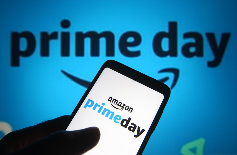 In this photo illustration, an Amazon Prime Day logo is seen on a smartphone. (Photo Illustration by Pavlo Gonchar/SOPA Images/LightRocket via Getty Images)