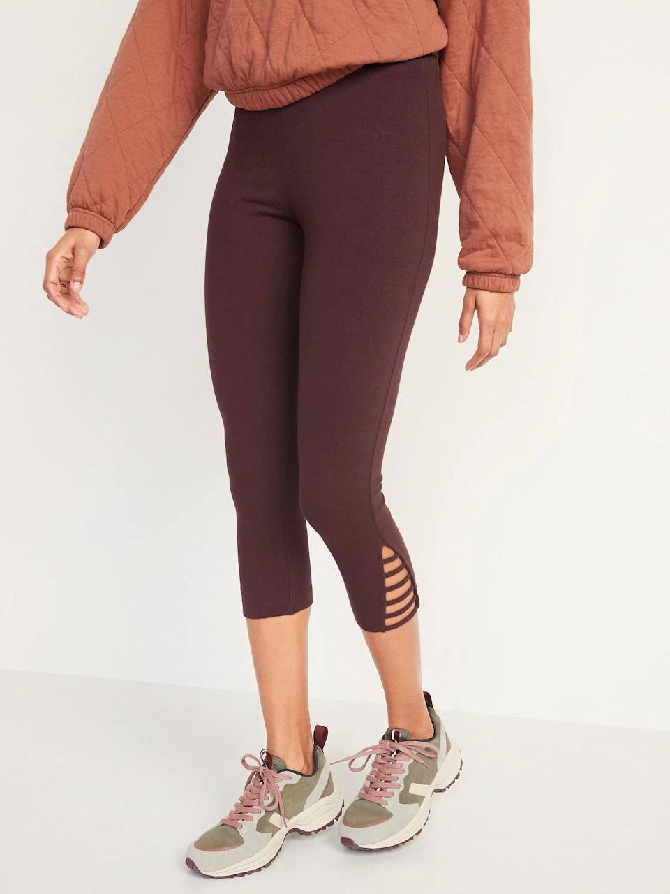 <p>There's no bad time for leggings and a dark hue like these <span>Old Navy High-Waisted Cropped Lattice-Hem Leggings</span> ($20) are a seasonal swap to summer brights.</p>