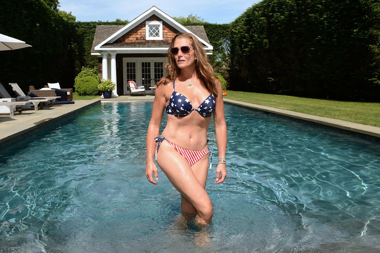 <p>Brooke Shields showed off her toned figure in a patriotic swimsuit in the Hamptons.</p>