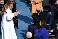 """<p>After Lopez left the podium during her performance of '<a href=""""https://www.elle.com/uk/life-and-culture/a35274477/inauguration-memes/"""" rel=""""nofollow noopener"""" target=""""_blank"""" data-ylk=""""slk:This Land Is Your Land/America The Beautiful/Let's Get Loud"""" class=""""link rapid-noclick-resp"""">This Land Is Your Land/America The Beautiful/Let's Get Loud</a>', the singer was thrilled to see Vice President Kamala Harris, who appeared to be as equally thrilled to see her. </p>"""