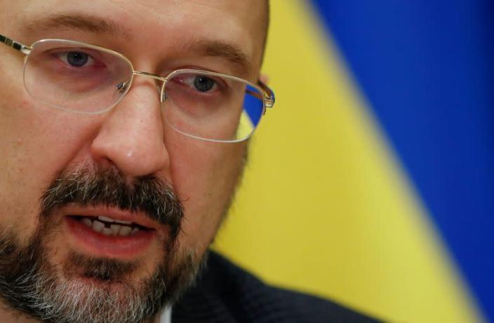 FILE PHOTO: Ukraine's Prime Minister Shmygal speaks during an interview in Kiev