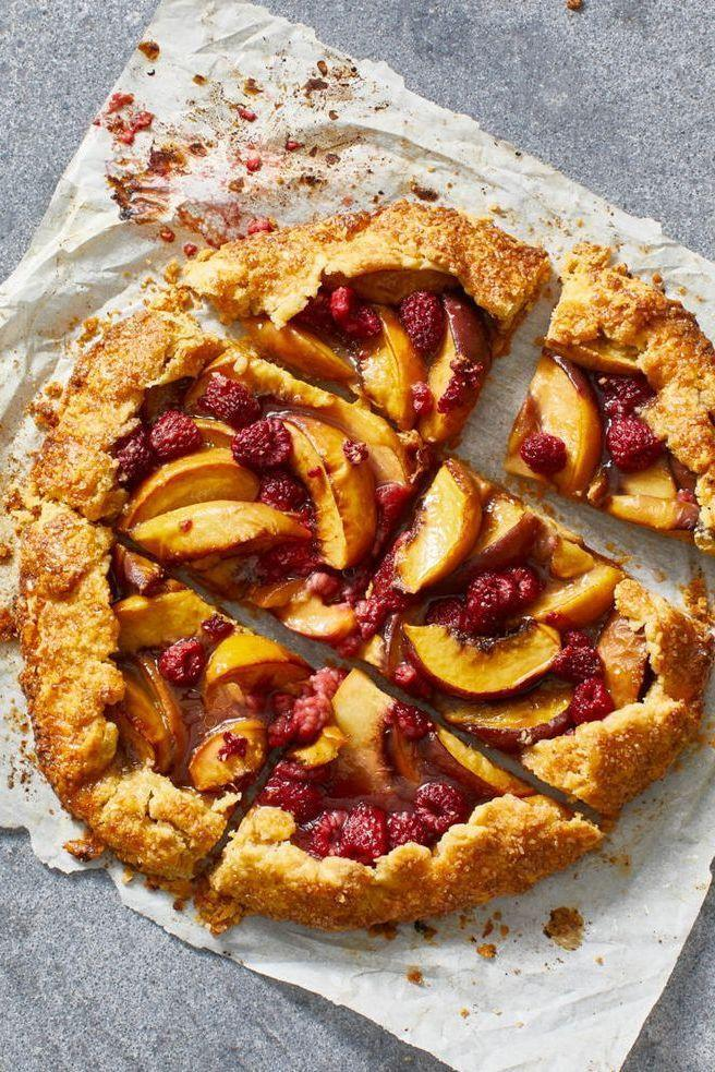 """<p>For such a picturesque pie, this fruity, summer galette recipe is shockingly easy — only four steps! </p><p><em><a href=""""https://www.goodhousekeeping.com/food-recipes/dessert/a31916338/peach-galette-recipe/"""" rel=""""nofollow noopener"""" target=""""_blank"""" data-ylk=""""slk:Get the recipe for Peach Galette »"""" class=""""link rapid-noclick-resp"""">Get the recipe for Peach Galette »</a></em></p>"""