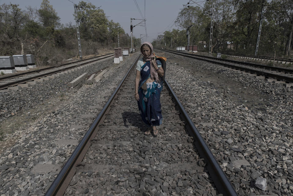 Kitty Texeira (68), popularly known as 'Kitty Memsab', married a tribal man and had to sell fruits at the McCluskieganj railway station to ward off poverty. She walks along the railway tracks to reach her house at the far end of the settlement. Over the years her name has become synonymous with McCluskieganj.