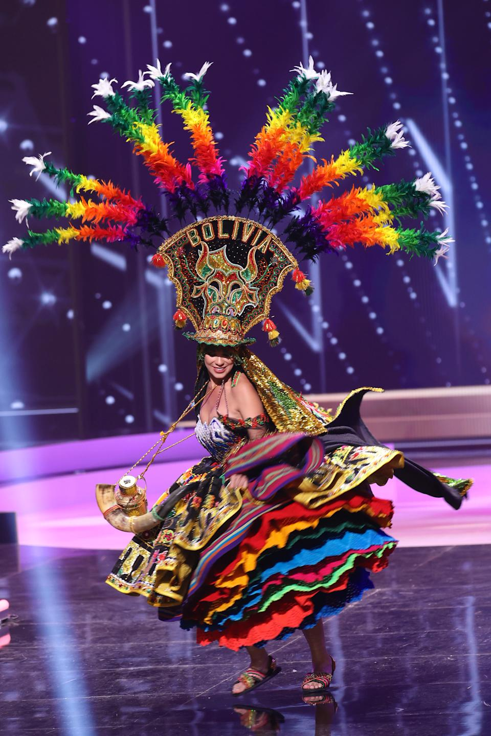 <p>Miss Bolivia Lenka Nemer appears onstage at the Miss Universe 2021 - National Costume Show at Seminole Hard Rock Hotel & Casino on May 13, 2021 in Hollywood, Florida. (Photo by Rodrigo Varela/Getty Images)</p>