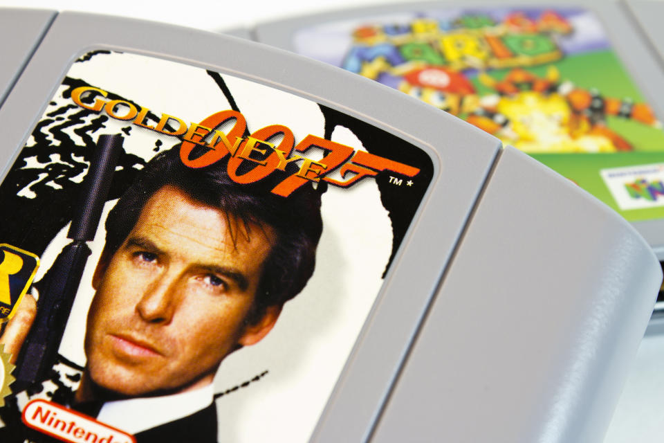 """Gothenburg, Sweden - April 15, 2011: Studio shot of the very popular Nintendo 64 game 007 Goldeneye, with Super Mario 64 in the background."""