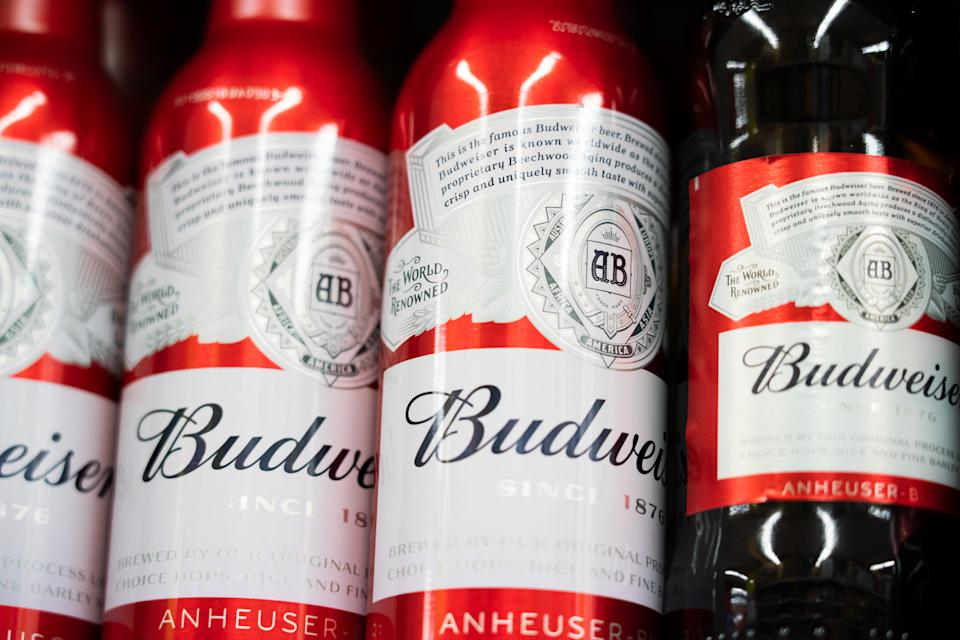 SHANGHAI, CHINA - 2019/07/27: Budweiser beer bottles displayed for sale in a Carrefour supermarket in Shanghai. (Photo by Alex Tai/SOPA Images/LightRocket via Getty Images)