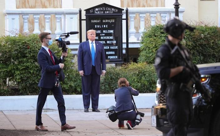 U.S. President Trump holds photo opportunity in front of church in Washington