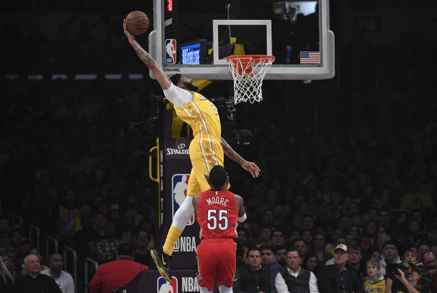 Anthony Davis gets it done in the paint. (Photo by Kevork Djansezian/Getty Images)