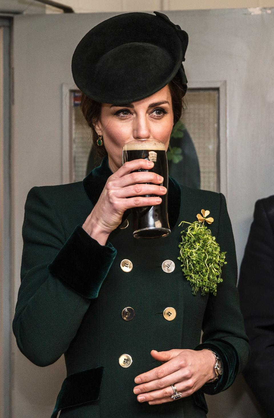 <p>The royal accessorised with a matching green hat and heels and finished off the look with a delicate pair of gold and green onyx Monica Vinader earrings. <em>[Photo: Getty]</em> </p>