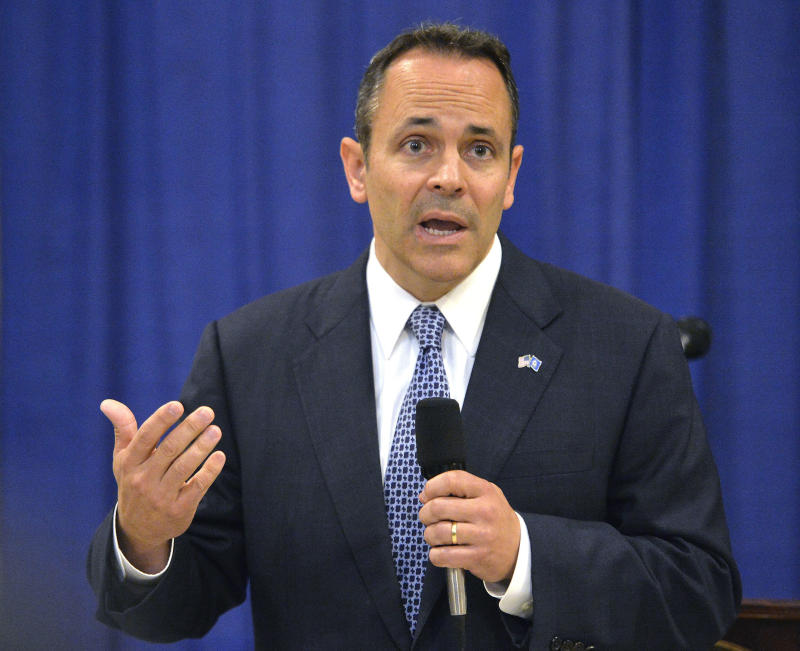 FILE - In this Nov. 6, 2015, file photo, Kentucky Governor-elect Matt Bevin addresses reporters during a news conference in Frankfort, Ky.  Bevin has lashed out at protesting teachers and ridiculed judges during a tumultuous term spent steering Kentucky on a conservative course while struggling to fix pension problems. Now the governor faces the first test of his reelection campaign in a race that could offer clues about the mood of the national electorate heading into a presidential election year. (AP Photo/Timothy D. Easley, File)