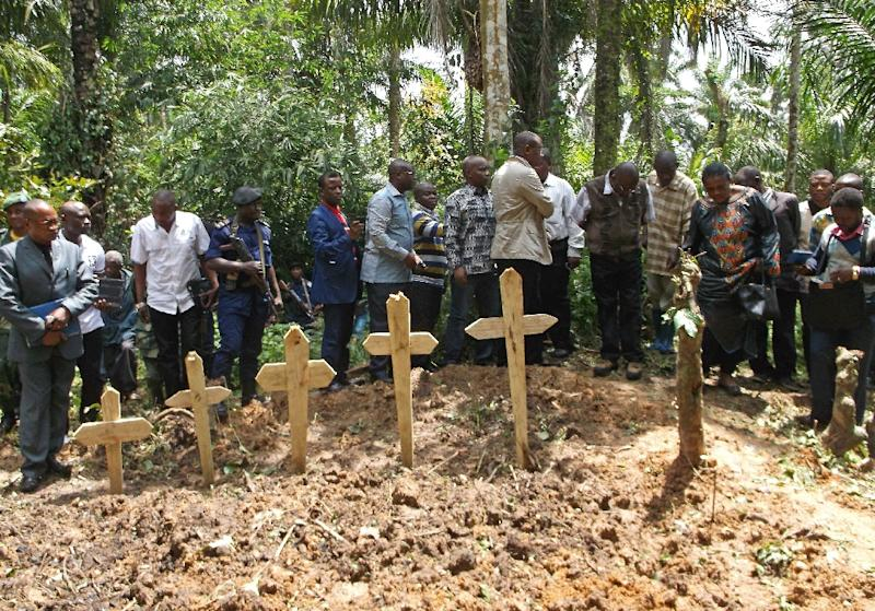 A burial ceremony for victims of an attack by suspected Ugandan Islamist rebels from the Allied Democratic Forces near Beni, Democratic Republic of Congo, on April 16, 2015