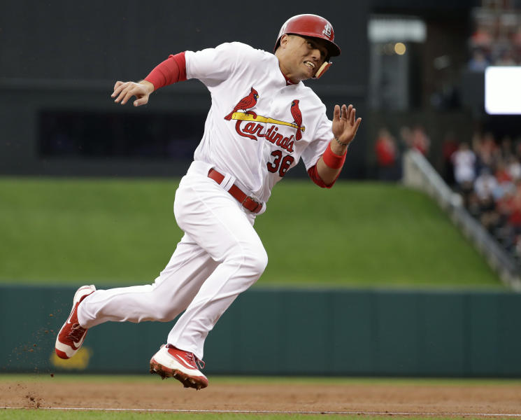 FILE - In this Oct. 2, 2016, file photo, St. Louis Cardinals' Aledmys Diaz rounds third and heads home to score on a single by Yadier Molina during the third inning of a baseball game against the Pittsburgh Pirates, in St. Louis. Diaz started his rookie season in 2016 by hitting .423 with four homers and 13 RBIs in 22 games last April. (AP Photo/Jeff Roberson, File
