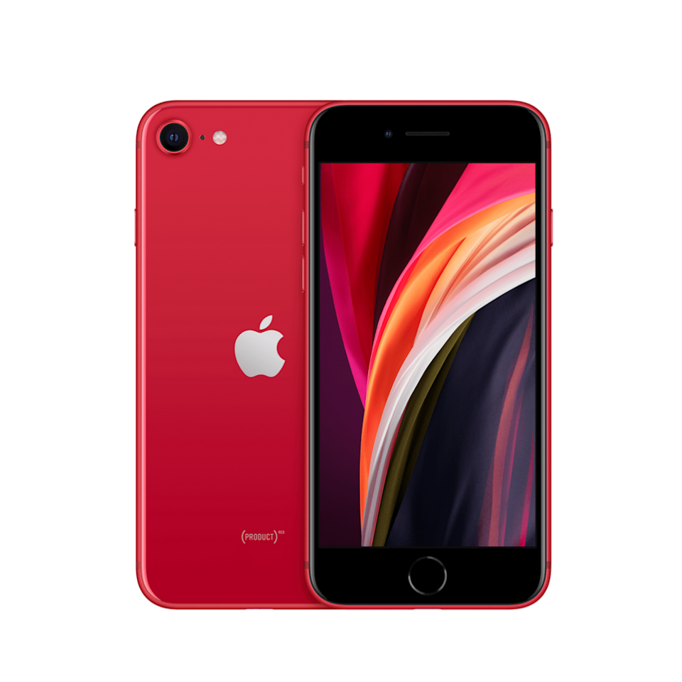 iPhone SE in PRODUCT(RED). Image courtesy of Apple.