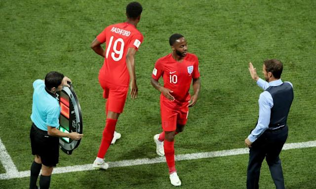 <span>Gareth Southgate greets Raheem Sterling after sending on Marcus Rashford in the forward's place in England's opening World Cup game against Tunisia.</span> <span>Photograph: Dave Shopland/BPI/Rex/Shutterstock</span>