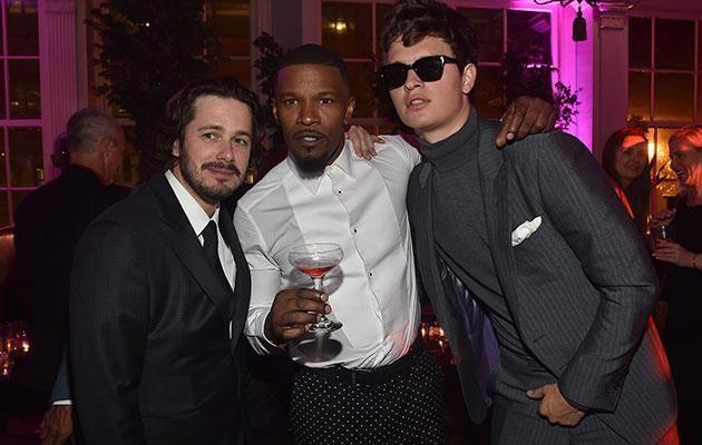 He also partied with Baby Driver director Edgar Wright (left) and co-star Ansel Elgort this week. Source: Getty