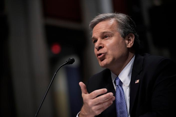 FBI director Christopher Wray testifies during a House Judiciary Committee oversight hearing on Capitol Hill on 10 June, 2021 (Getty Images)