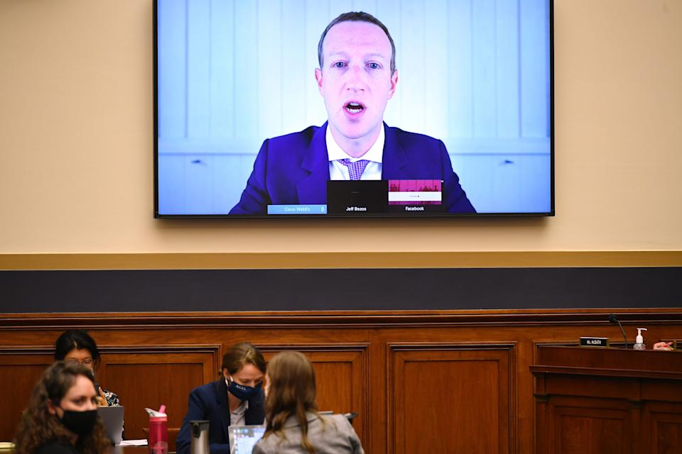 Facebook CEO Mark Zuckerberg testifies before the House Judiciary Subcommittee on Antitrust, Commercial and Administrative Law on Online Platforms and Market Power in the Rayburn House office Building, July 29, 2020 on Capitol Hill in Washington, DC.